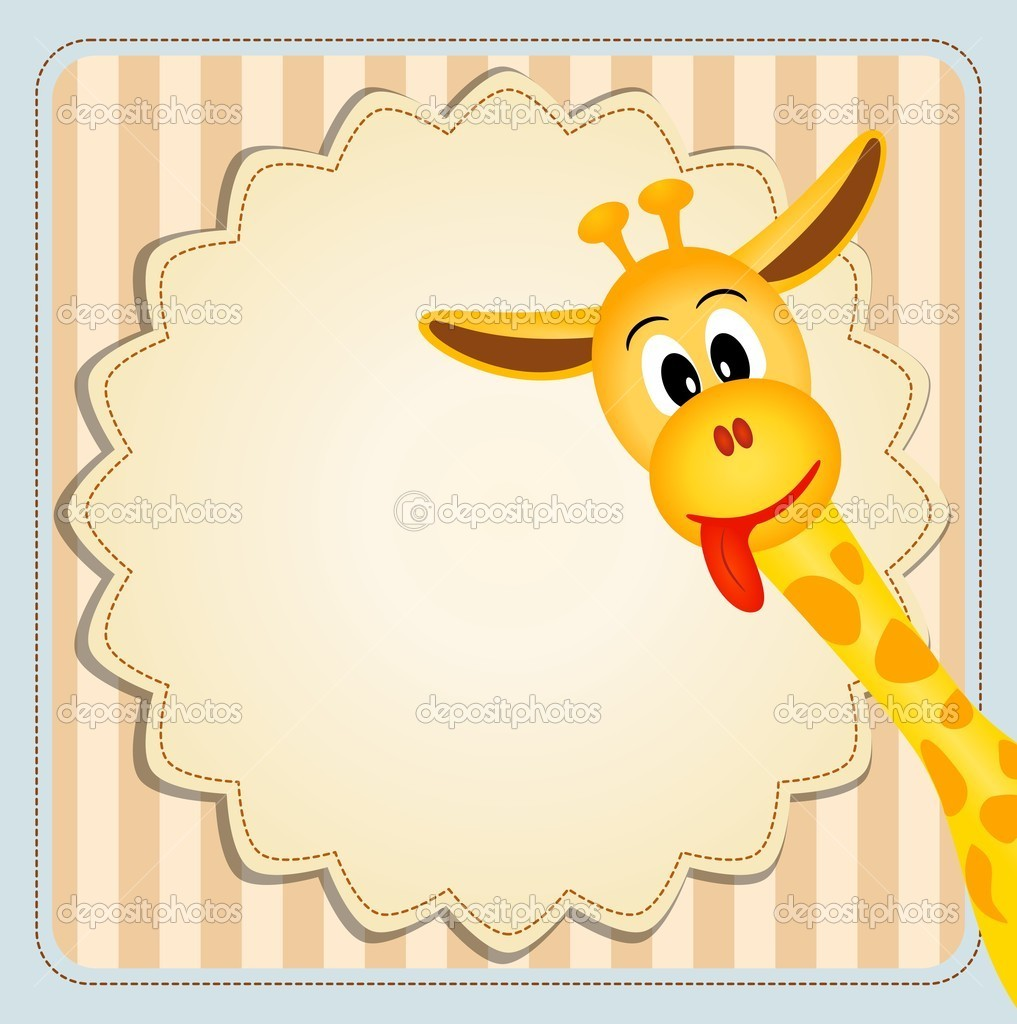 Cute giraffe on decorative background - birthday invitation — Stock ...