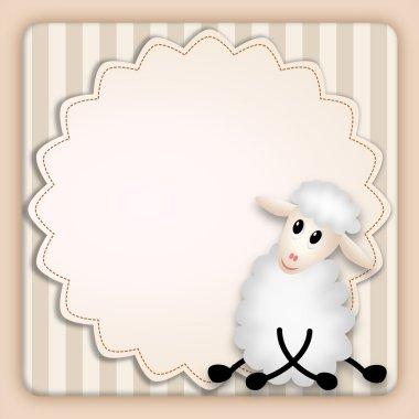 Cute lamb on decorative background - birthday invitation