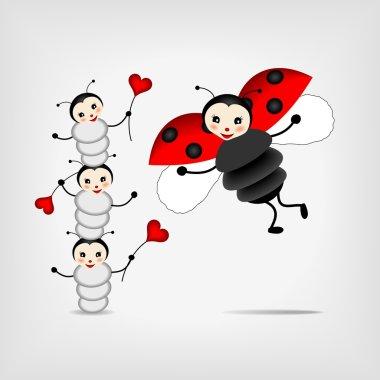 Mother ladybug with three babies