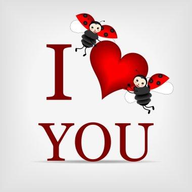 Ladybugs holding big red heart