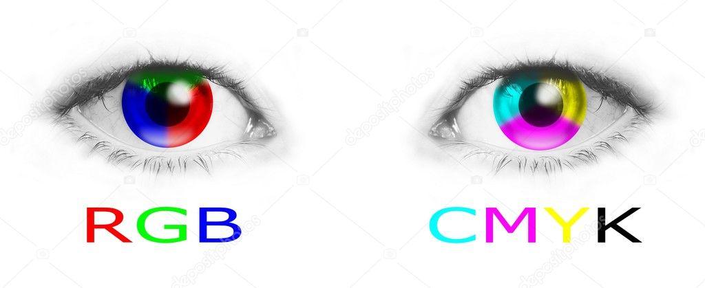 Eyes With Rgb And Cmyk Colors Stock Photo C Anikakodydkova 10661397