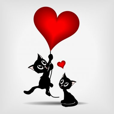 Two black kittens and red heart - balloons - vector illustration