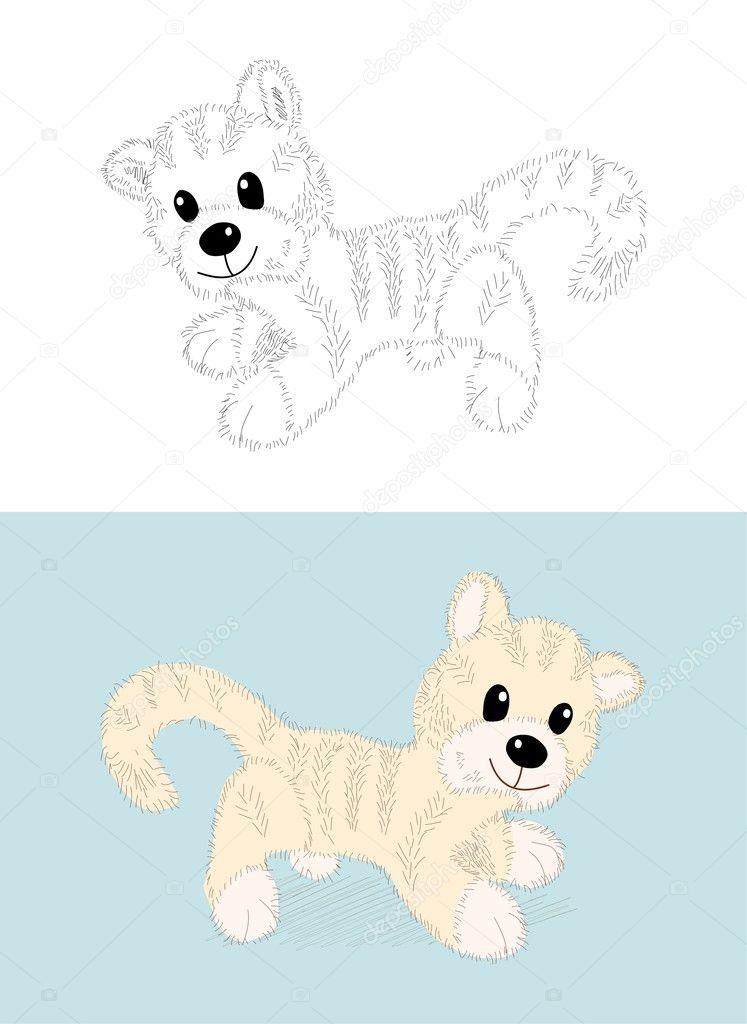 Vektor Cartoon Katze oder kleinen tiger — Stockvektor ...