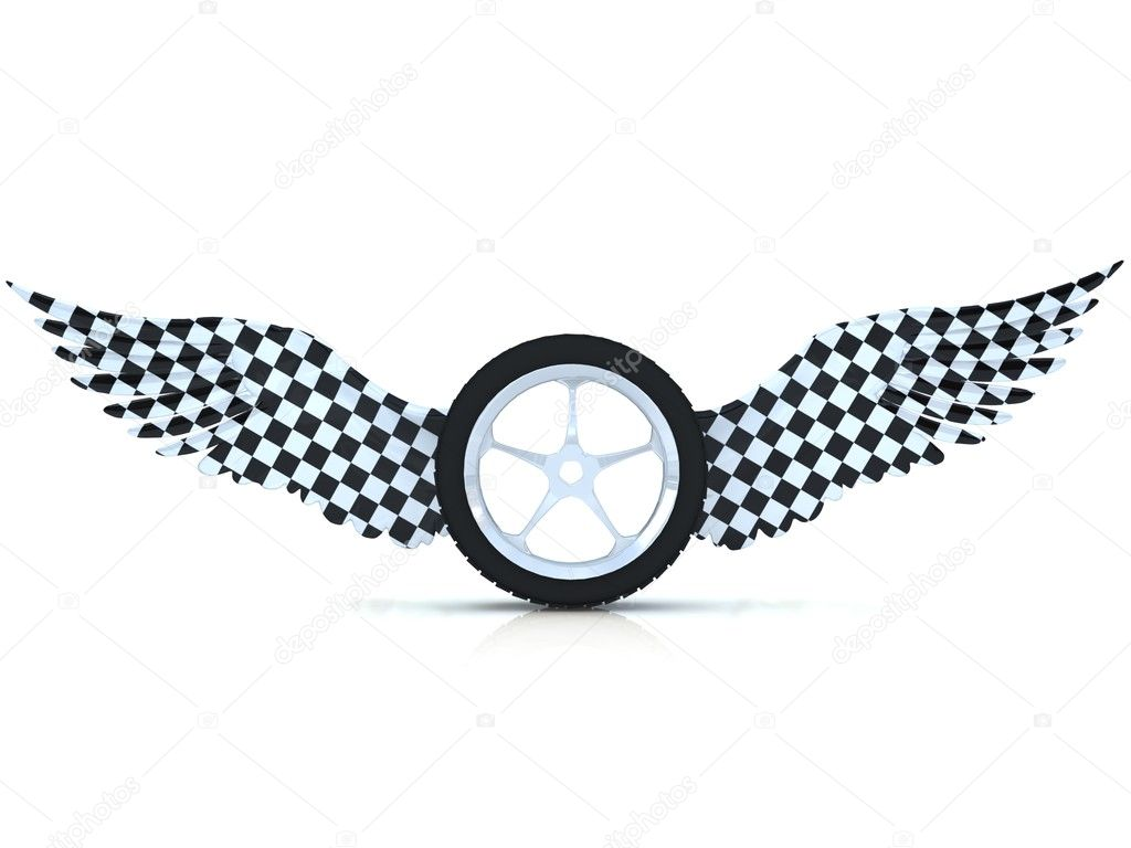 Car Tire Wheel With Wings Isolated On A White Stock Photo