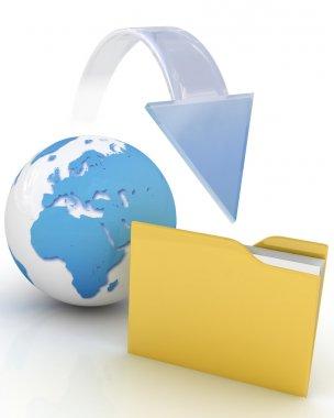 Files download. 3d illustration.