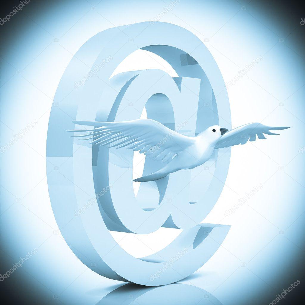 símbolo del correo electrónico con Paloma — Foto de stock ...