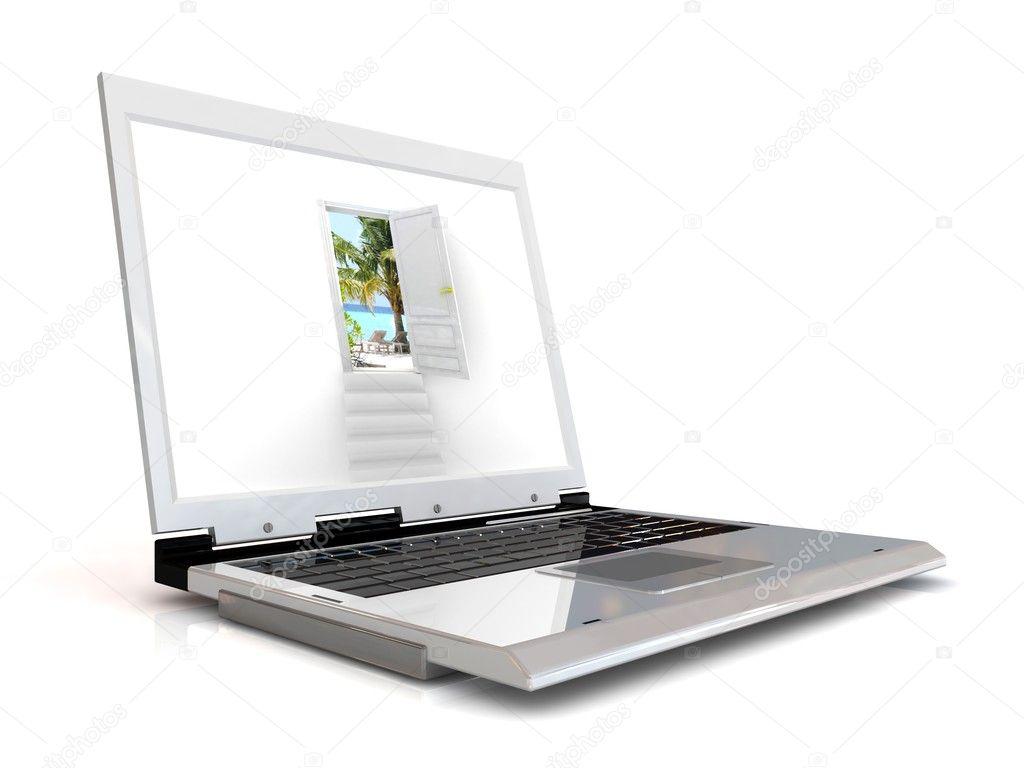 Ordinateur portable avec la porte du r ve photographie megastorm 10012385 - Porte ordinateur portable ...