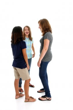 Teenage Girls On White Background