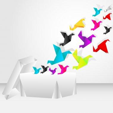 Origami bird flying