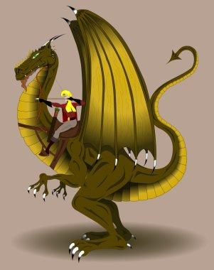 Woman archer riding a dragon