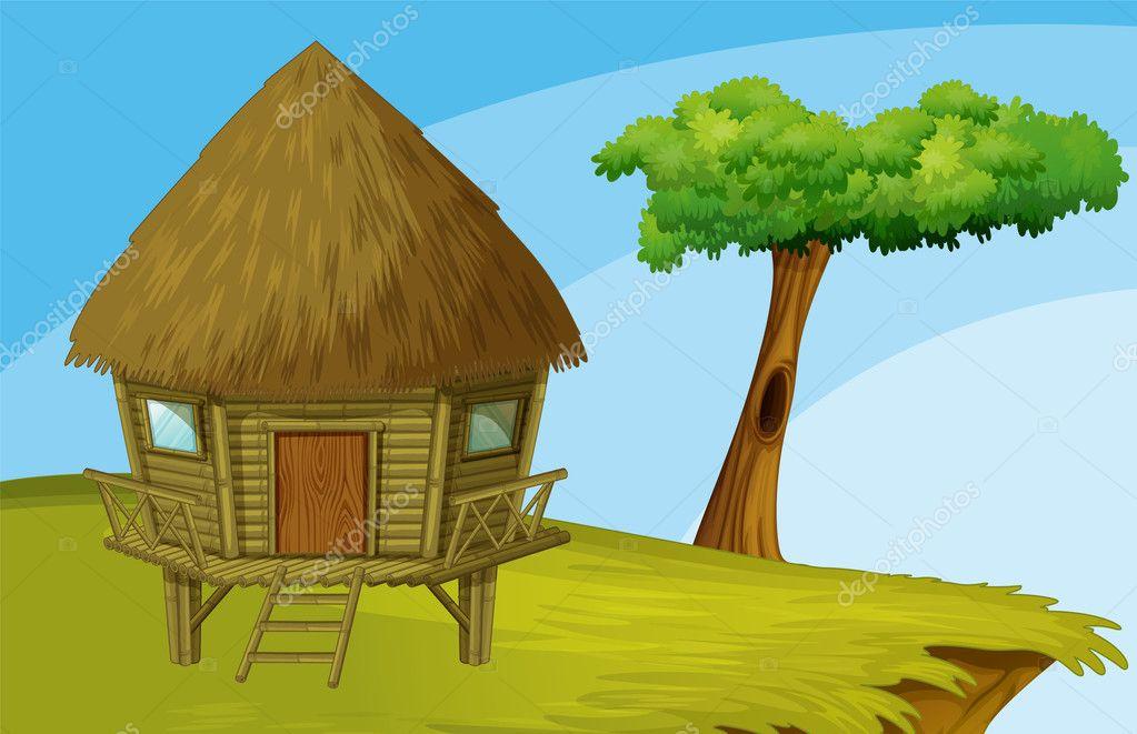 Cartoon hut — Stock Vector © interactimages #10032185