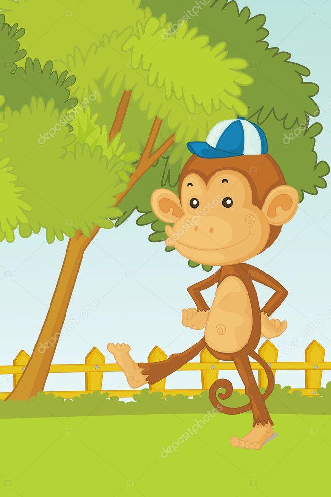 Картинка с обезьянкой в голове