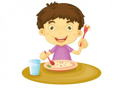 Illustration of child eating at a table stock vector