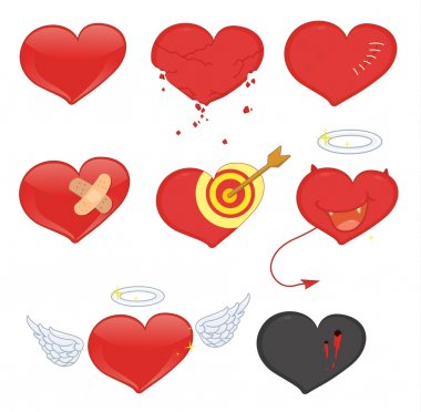 Illustrated set of heart objects clip art vector
