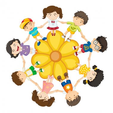 Illustration of a ring of children clip art vector