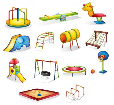 Collection of isolated play equipment stock vector