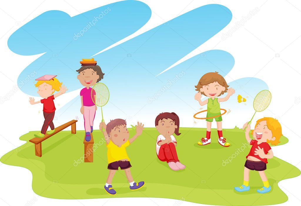 Jugando en el parque vector de stock 10277241 for Aprendemos jugando jardin infantil