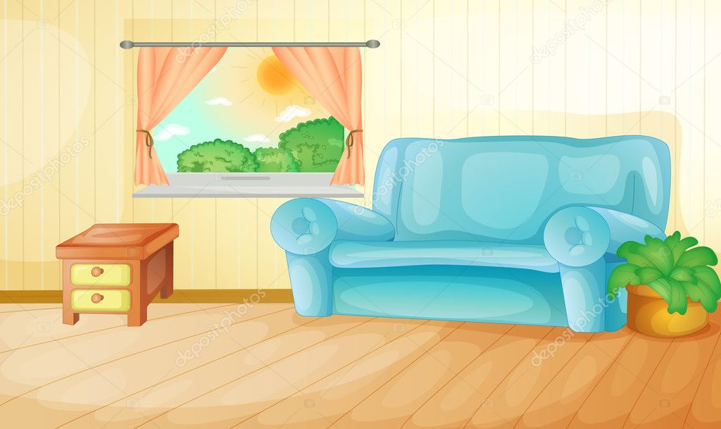 Interior Of A House Living Room Vector By Interactimages