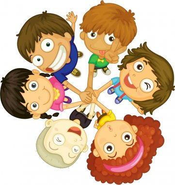 Illustration of kids faces on white background stock vector