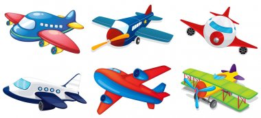 Illustration of various airplanes on white stock vector