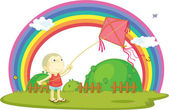Illustration of boy playing with kite