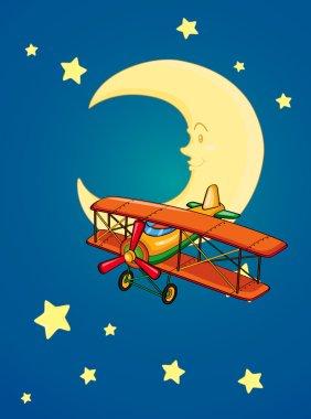 moon and aeroplane