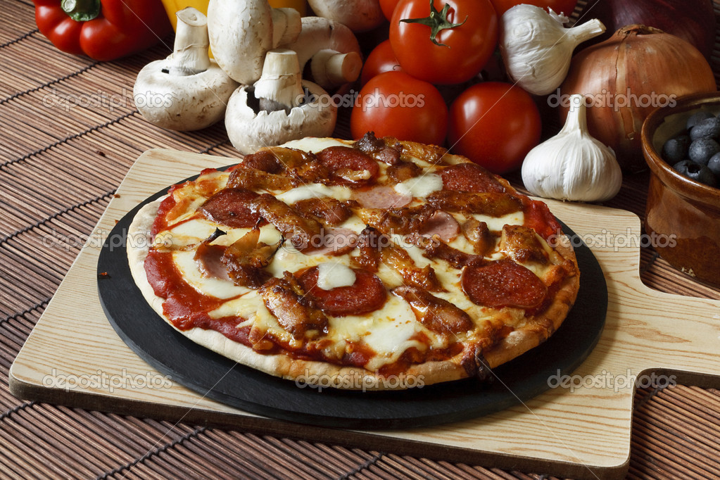 Stone baked Meat feast gourmet Pizza