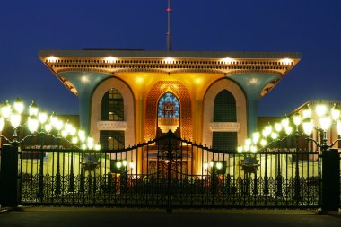 Oriental architecture, sultan's palace in Oman at night