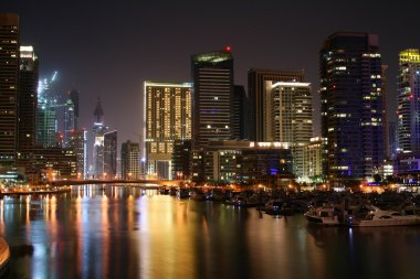 Night scene at Dubai Marina, United Arab Emirates