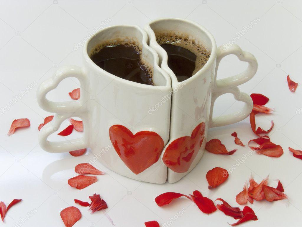 Heart Shaped Cups Of Coffee Stock Photo Dimijana 10429378
