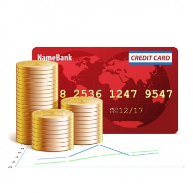 Credit Cards and Coins, vector illustration