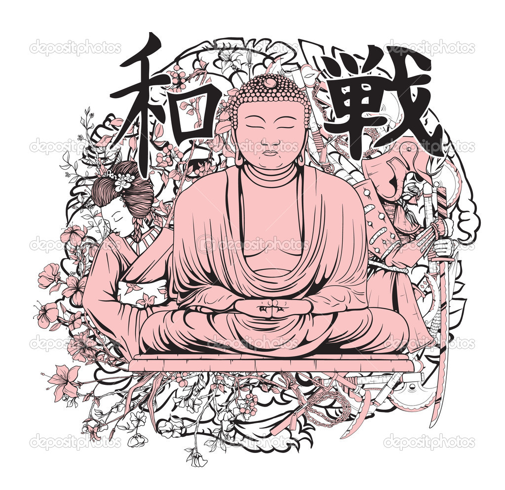 T shirt japanese design - Vector Japanese T Shirt Design With Buddha Vector By Designious