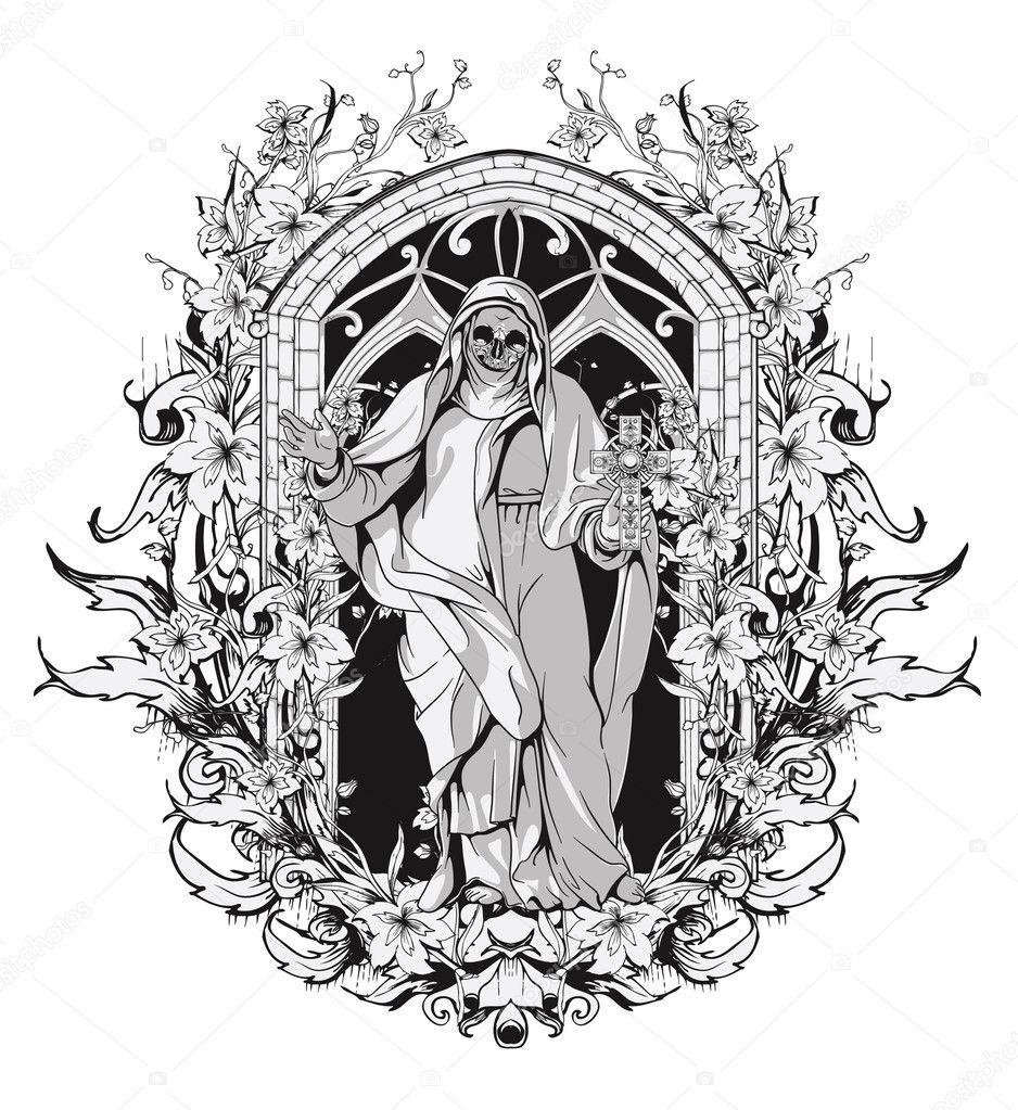T shirt design download - Gothic T Shirt Design Vector Illustration Vector By Designious
