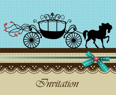 Invitation card with carriage & horse ver. 3