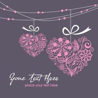Greeting hanging heart clip art vector