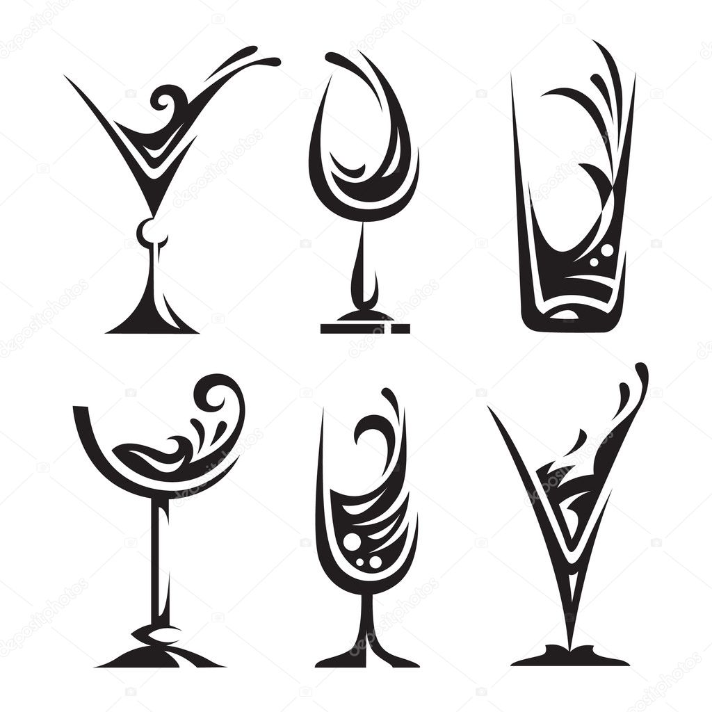 Set of wine and liqueur glasses stock vector