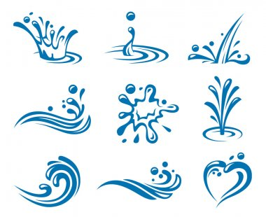 Set of abstract waters icons stock vector
