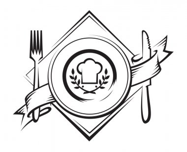 Monochrome dish with knife and fork stock vector