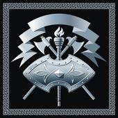Fotografie Shield with cross battle-axes