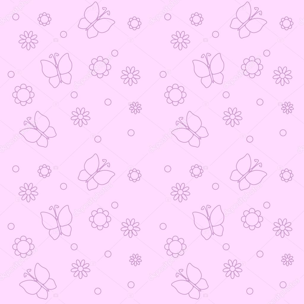 Cute pink background with flowers and butterflies