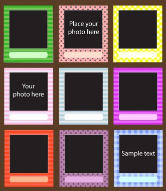 Vector photo frame set for scrapbook