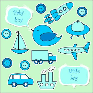 Set of scrapbook elements for baby boy