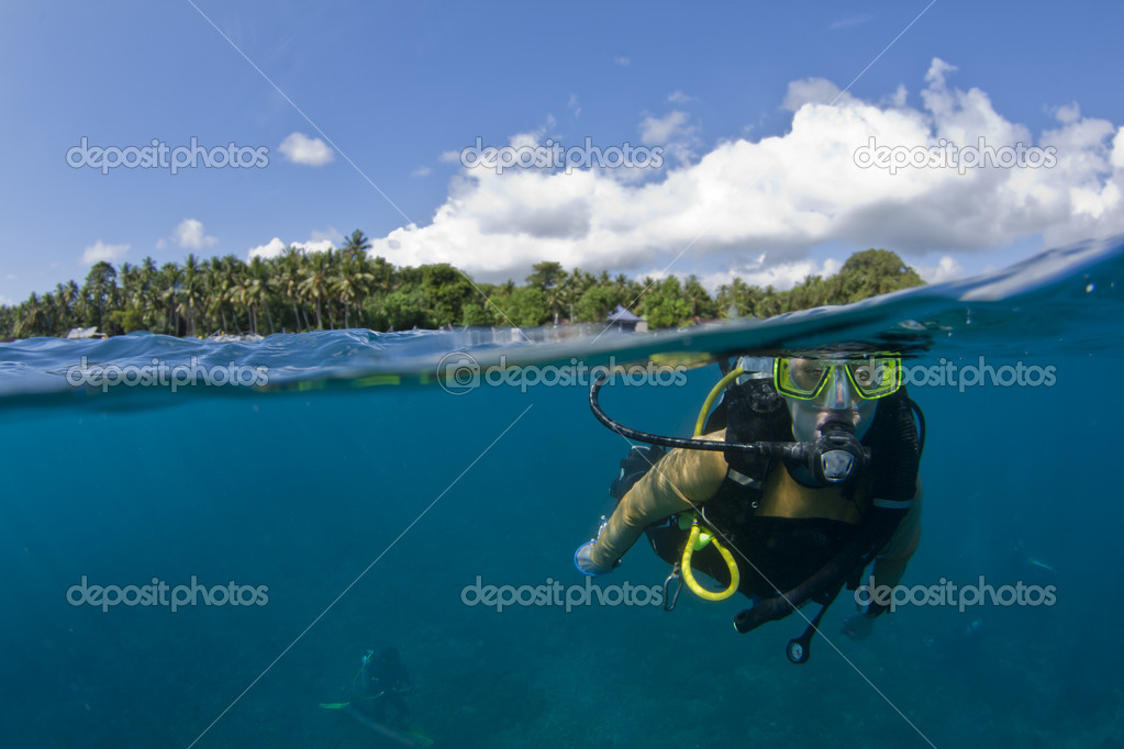 Scuba diver at the surface