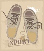 αθλητικά παπούτσια από γκρίζα φανέλα