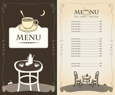 Menu for the night cafe
