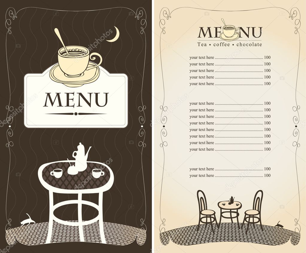 Menu for the night cafe with moon and cat stock vector