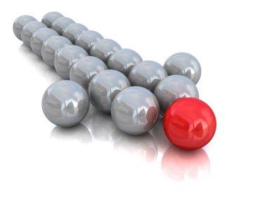3d illustration of balls forming an arrow.