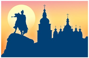 Silhouette of St Sophia Cathedral and monument to Khmelnitsky