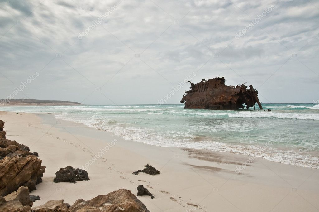 Shipwreck on the coast of Boa Vista in Cape Verde