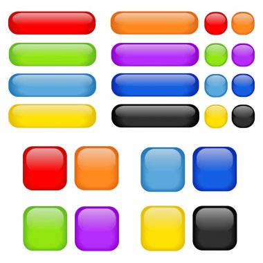 Colorful vector set of glass buttons